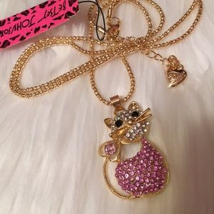 Betsey Johnson Pink Crystal Cat Necklace NWT
